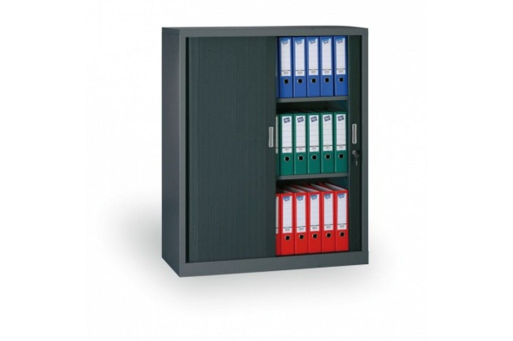Kovová skříň se žaluziovými dveřmi, 1200x1000x450 mm, antracit