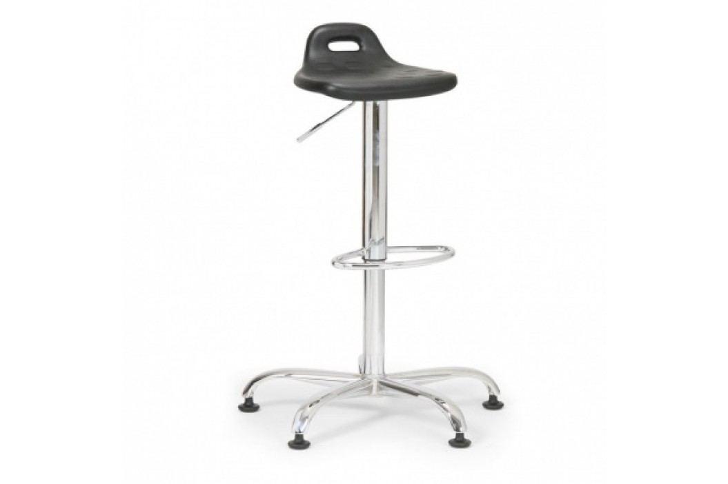 Laboratorní stolička, kovový kříž, černá