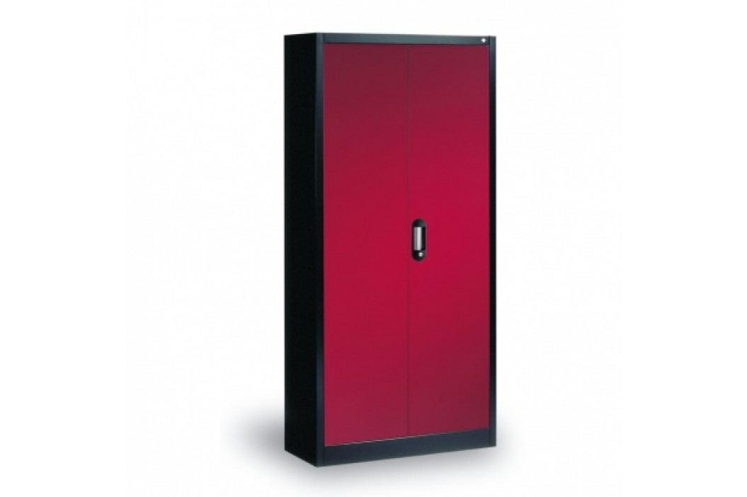 C+P Möbel Plechová skříň, 1950x930x400 mm, antracit/červená