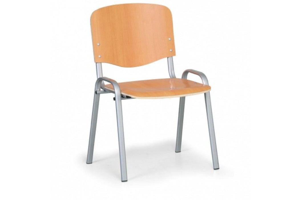 Dřevěná židle ISO, buk, konstrukce šedá, nosnost 150 kg