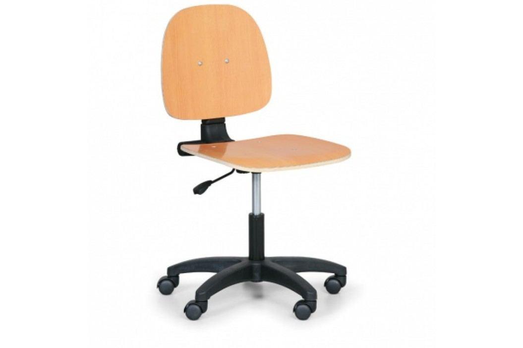 Pracovní dřevěná židle - permanentní kontakt, kolečka