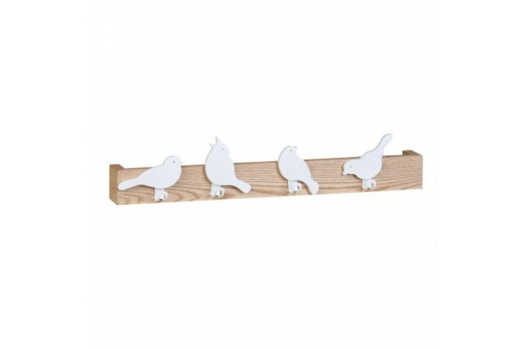 Dřevěná police se 4 háčky, motiv ptáčků
