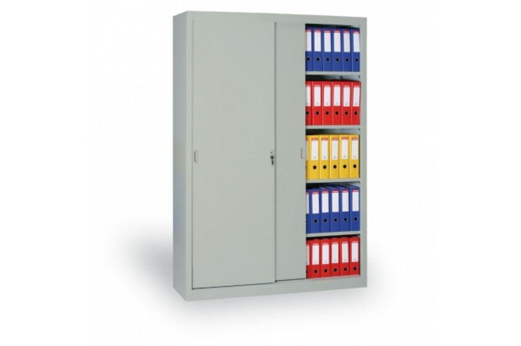 Kovová skříň s posuvnými dveřmi, 1990x1000x450 mm, světle šedá