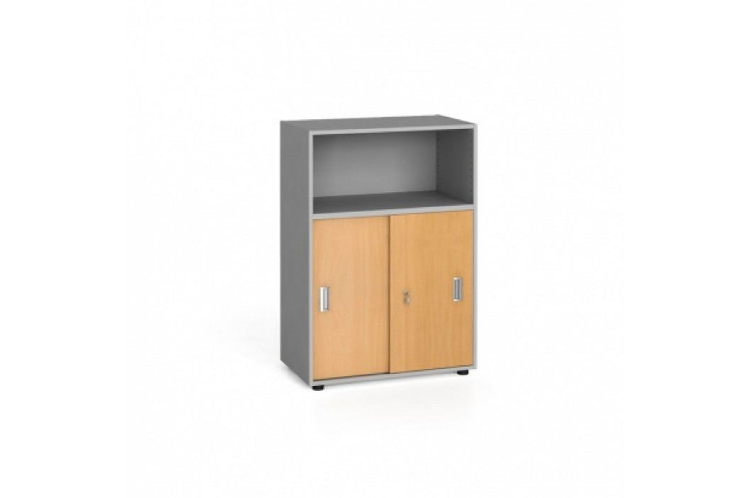 Kancelářská skříň kombinovaná, zasouvací dveře, 1087x800x420 mm, buk