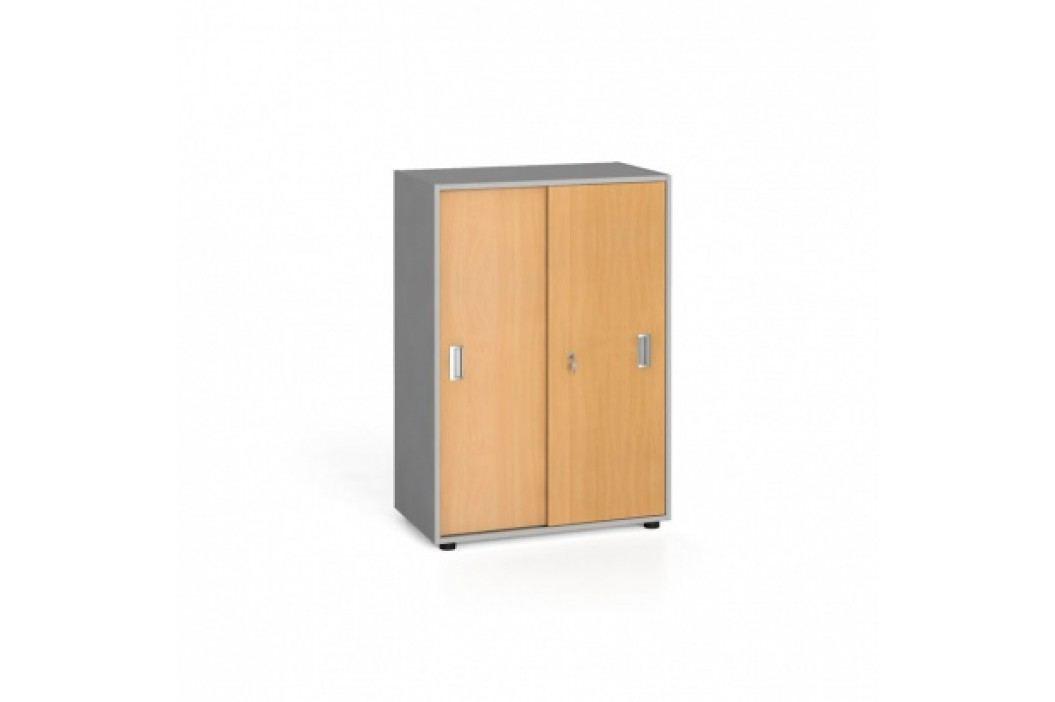 Kancelářská skříň zasouvací dveře, 1087x800x420 mm, buk
