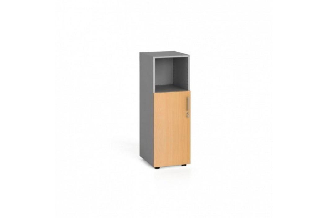 Kancelářská skříň kombinovaná s dveřmi, 1087x400x420 mm, buk