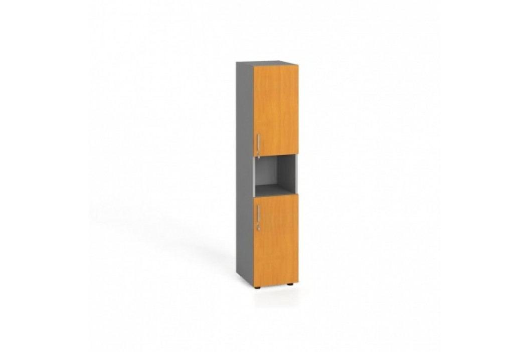 Kancelářská skříň, dělené dveře, 1781x400x420 mm, buk