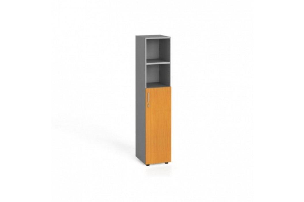 Kancelářská skříň, dveře na 3 patra, 1781x400x420 mm, buk