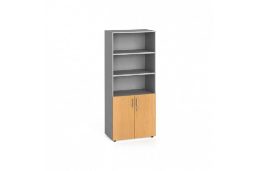 Kancelářská skříň, dveře na 2 patra, 1781x800x420 mm, buk