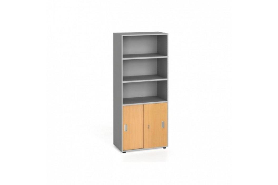 Kancelářská skříň, zasouvací dveře na 2 patra, 1781x800x420 mm, buk
