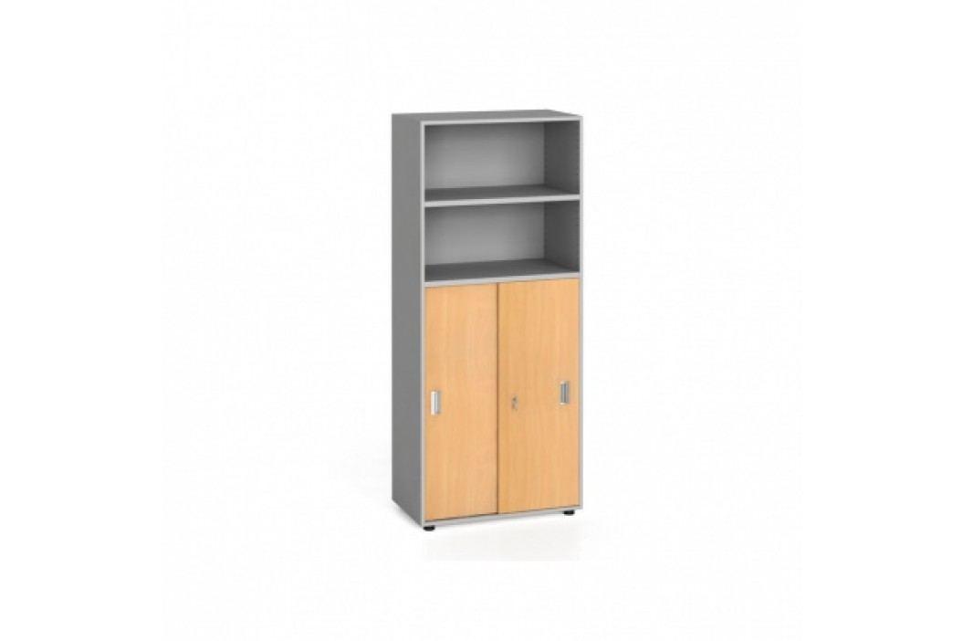 Kancelářská skříň, zasouvací dveře na 3 patra, 1781x800x420 mm, buk