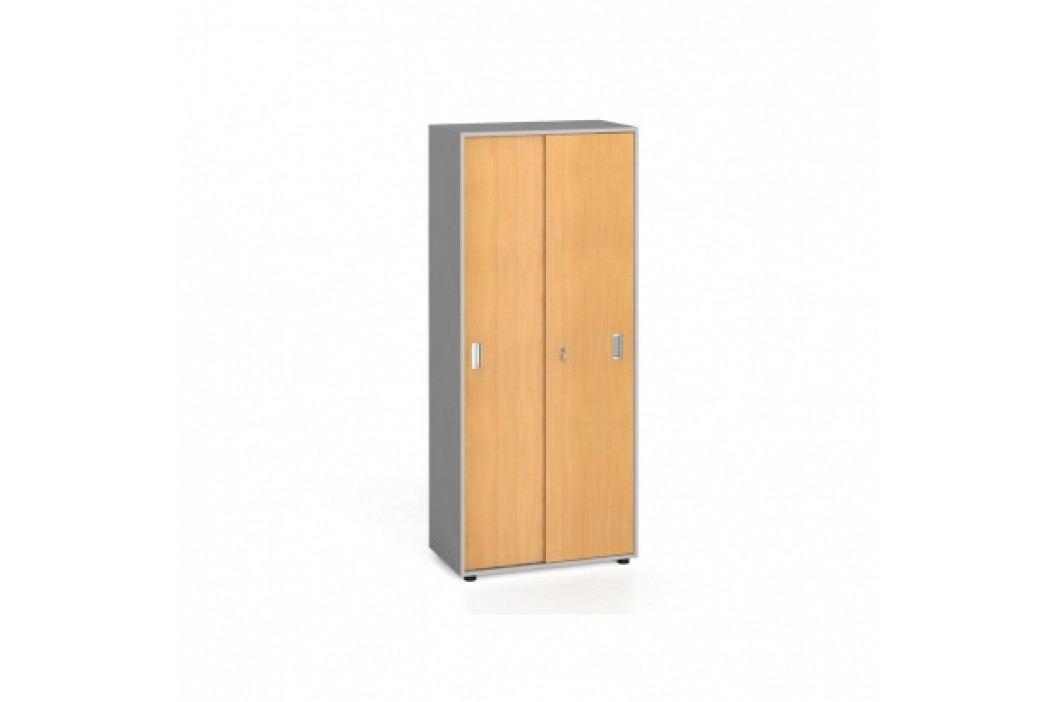 Kancelářská skříň s zasouvacími dveřmi, 1781x800x420 mm, buk