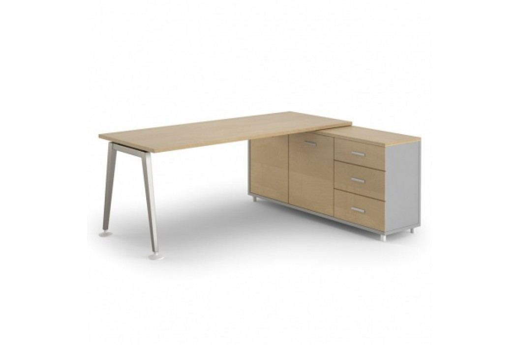 Stůl Alfa se skříňkou 1800 x 800 mm pravý, bříza