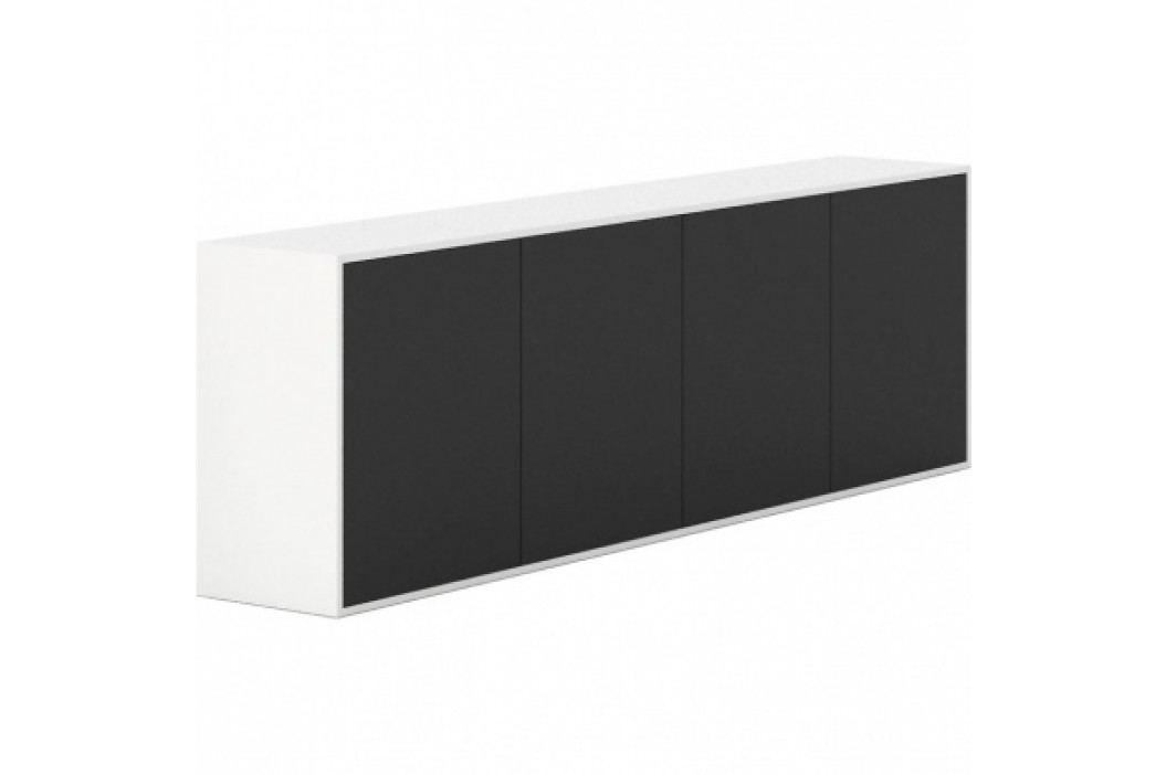 PLAN Skříňka s dveřmi dlouhá White LAYERS, černé dveře
