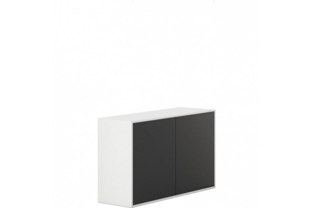 PLAN Skříňka s dveřmi White LAYERS, černé dveře