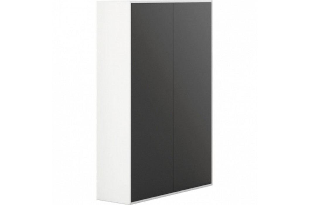 PLAN Skříň vysoká s dveřmi White LAYERS, černé dveře