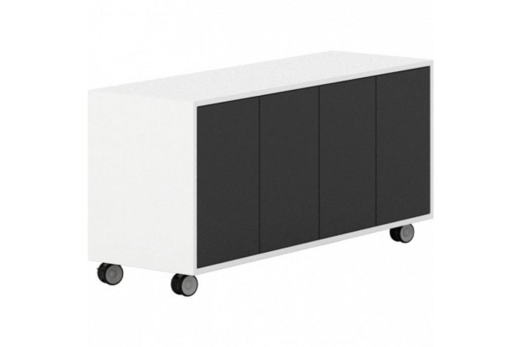 PLAN Pojízdná skříňka s dveřmi White LAYERS, černé dveře