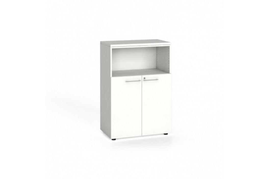 Kancelářská skříň kombinovaná, 1087x800x420 mm, bílá