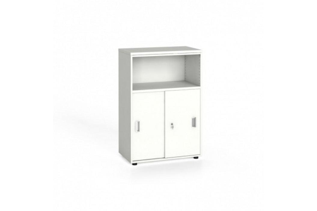 Kancelářská skříň kombinovaná, zasouvací dveře, 1087x800x420 mm, bílá