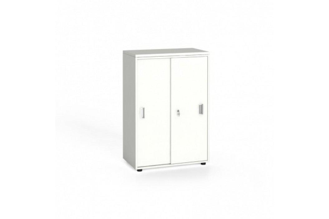 Kancelářská skříň zasouvací dveře, 1087x800x420 mm, bílá