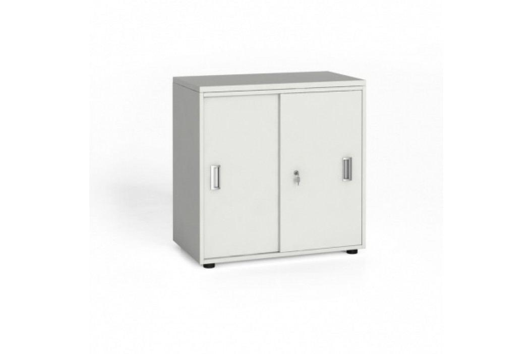 Kancelářská skříň se zasouvacími dveřmi, 740x800x420 mm, bílá