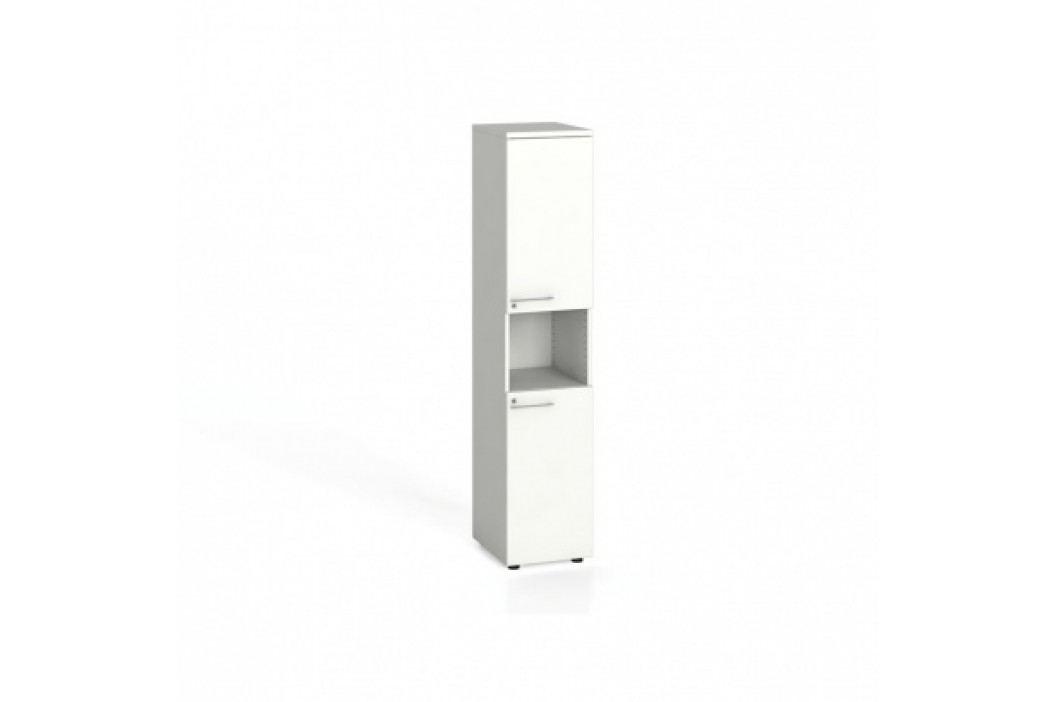 Kancelářská skříň, dělené dveře, 1781x400x420 mm, bílá