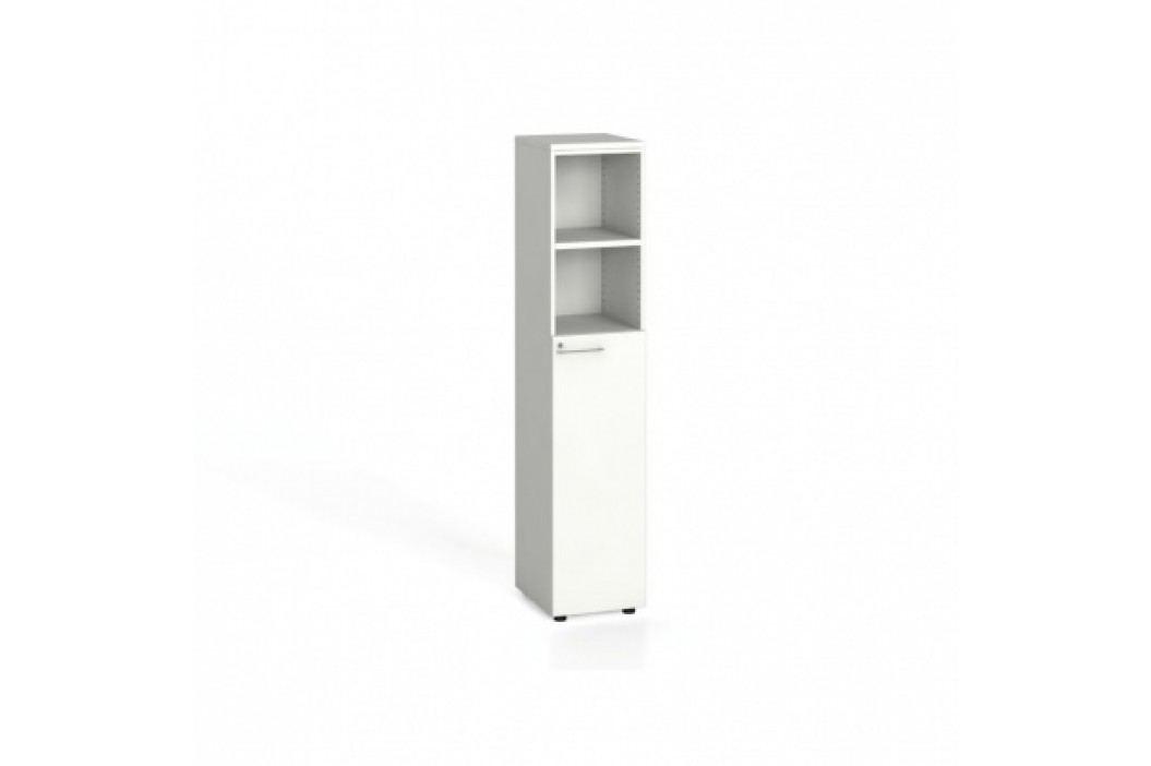 Kancelářská skříň, dveře na 3 patra, 1781x400x420 mm, bílá