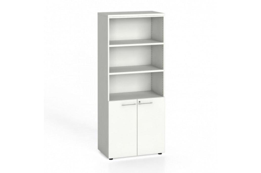 Kancelářská skříň, dveře na 2 patra, 1781x800x420 mm, bílá