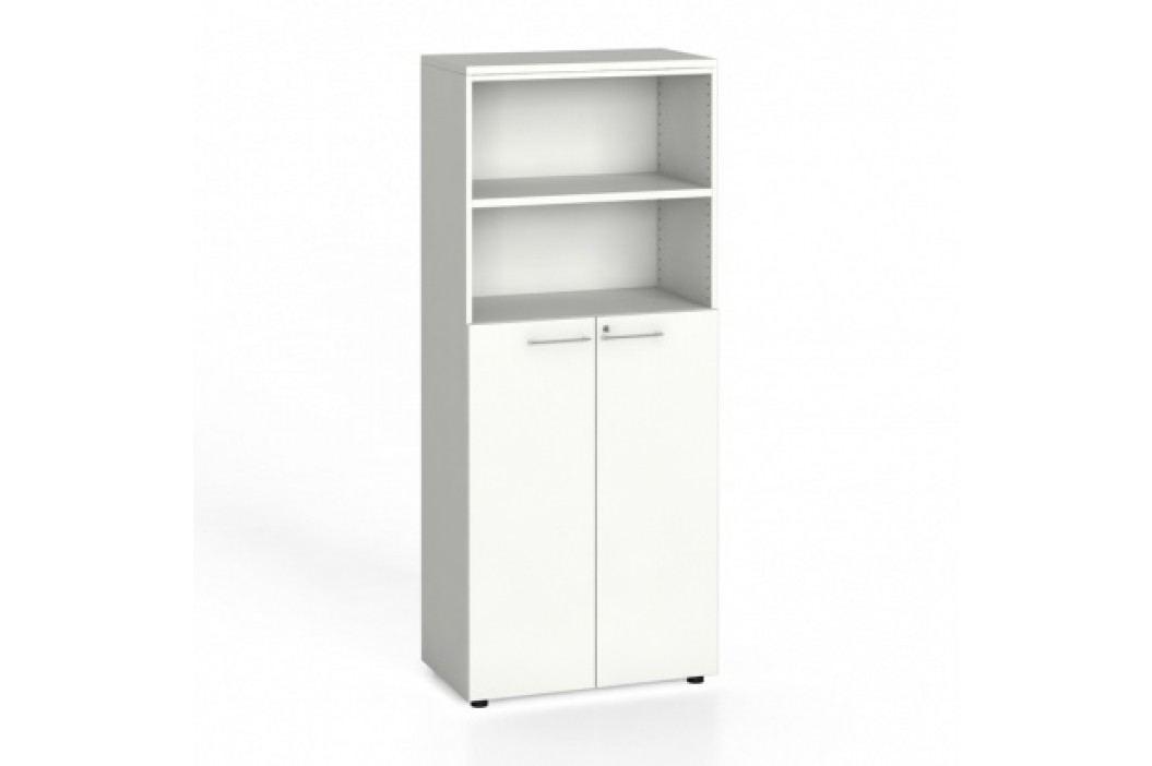 Kancelářská skříň, dveře na 3 patra, 1781x800x420 mm, bílá