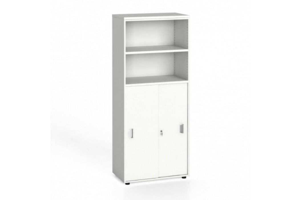 Kancelářská skříň, zasouvací dveře na 3 patra, 1781x800x420 mm, bílá