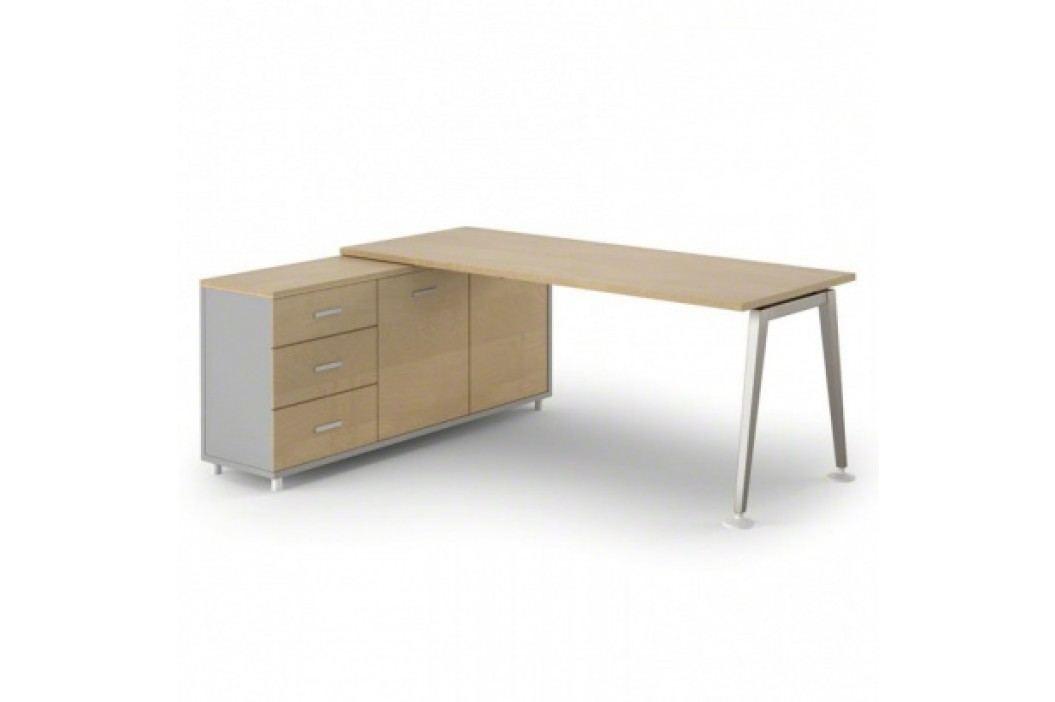 Stůl Alfa se skříňkou 1800 x 800 mm levý, bříza