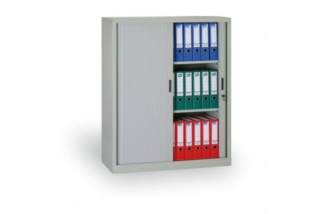 Kovová skříň se žaluziovými dveřmi, 1200x1000x450 mm, světle šedá
