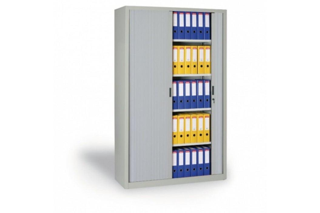 Kovová skříň se žaluziovými dveřmi, 1990x1000x450 mm, světle šedá