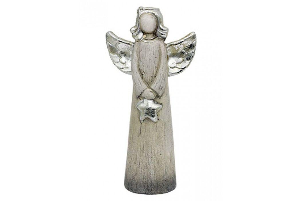 Anděl s hvězdou, barva stříbrná - keramický