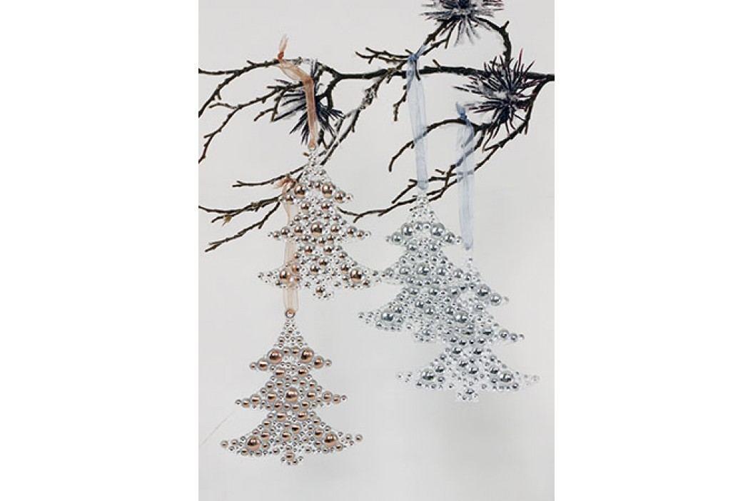 Dekorace závěsná, tvar stromečku, plastová, barva stříbrná a měděná, cena za 2 kusy v sáčku
