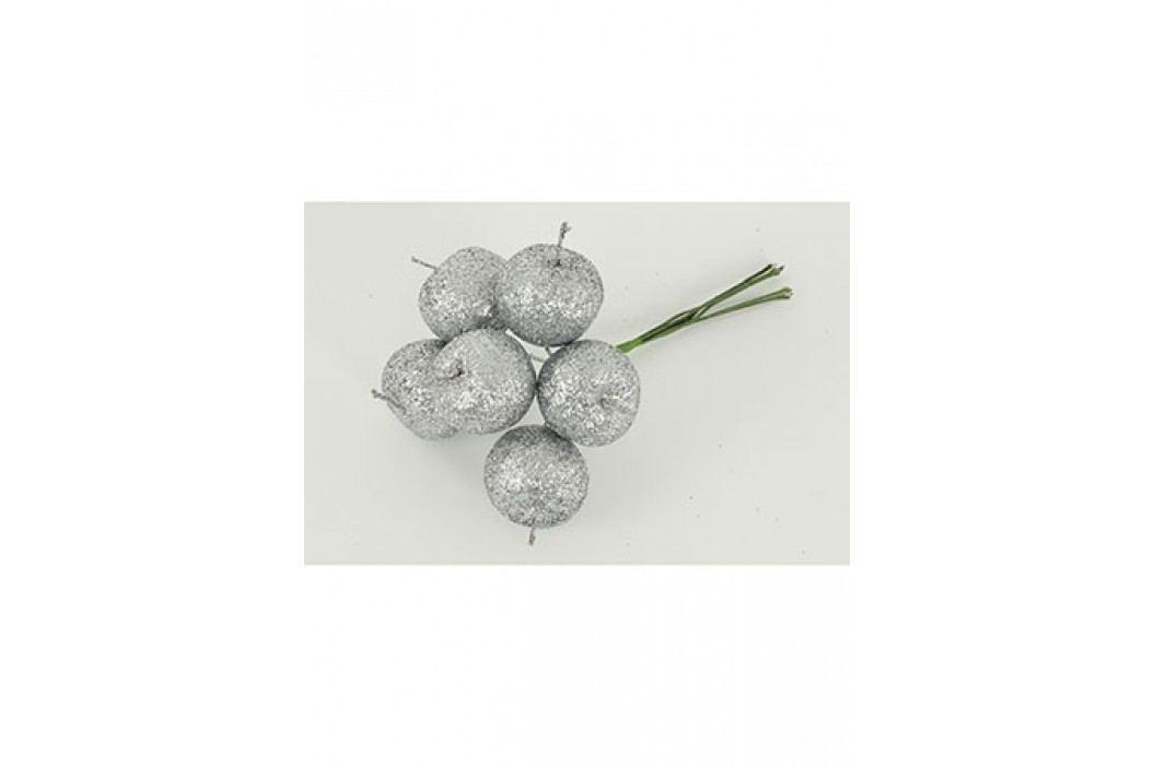 Jablíčko umělé na drátku  stříbrné ojíněné , cena za 6 kusů