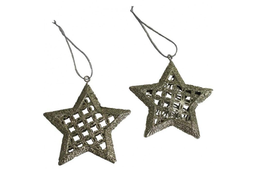 dekorace hvězda zlacená, sada 2ks K0190