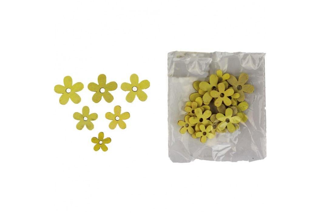 Dřevěné kytky žl. 24 ks D0168