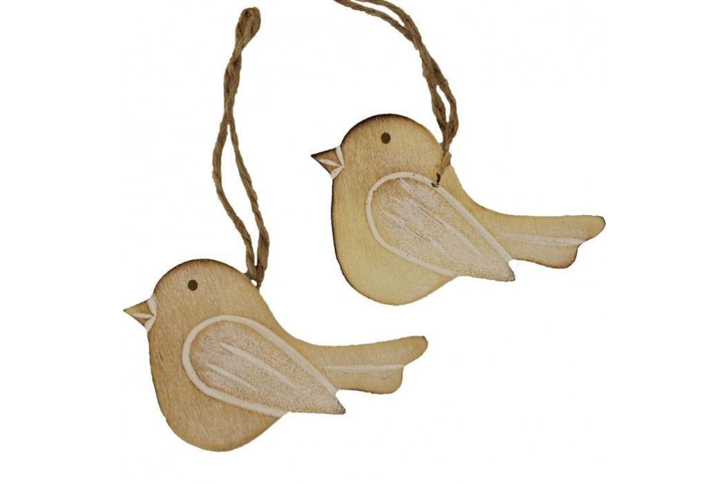 Dřevěný ptáček 2 ks D0252