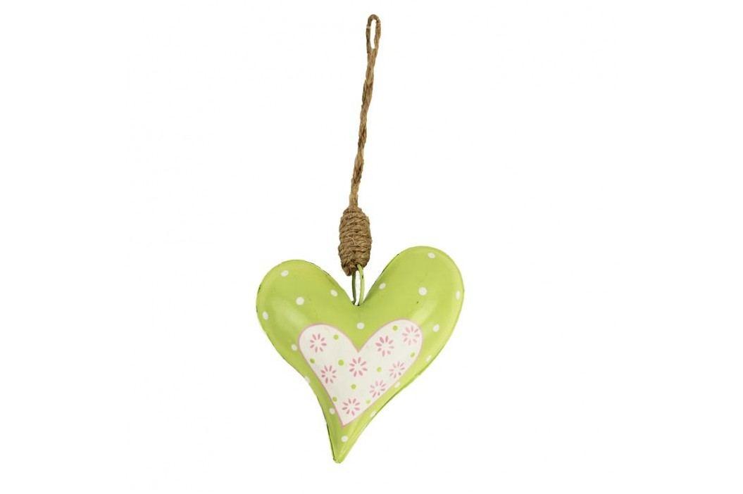 Srdce kovové zelené