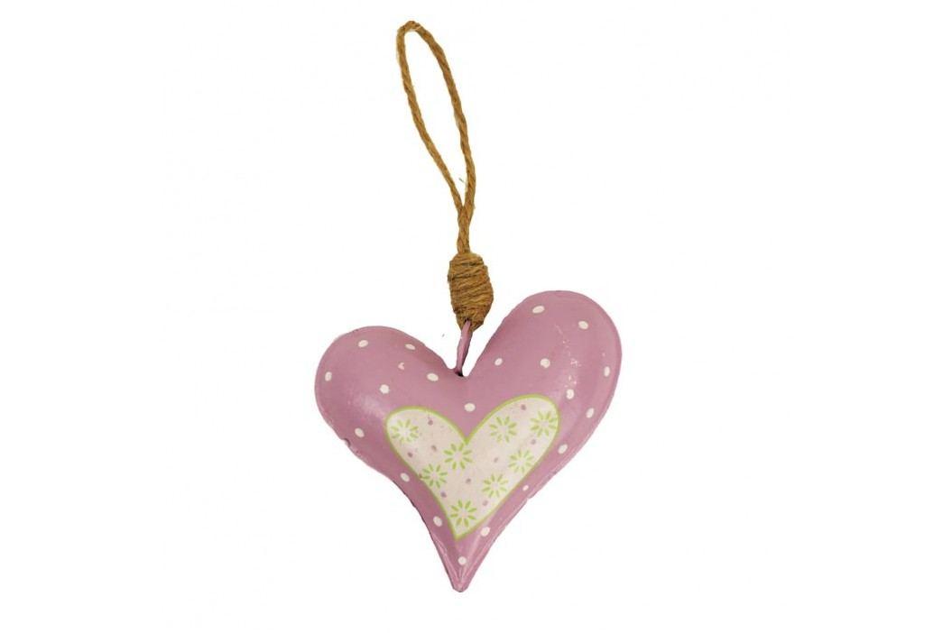 Srdce kovové růžové
