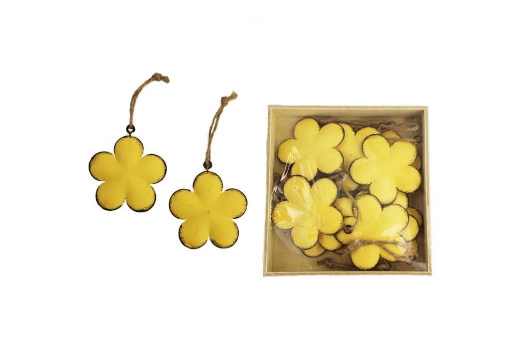 Kovové květy žluté, 10 ks