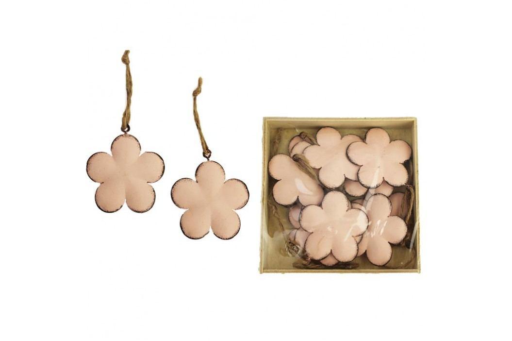Kovové květy růžové, 10 ks