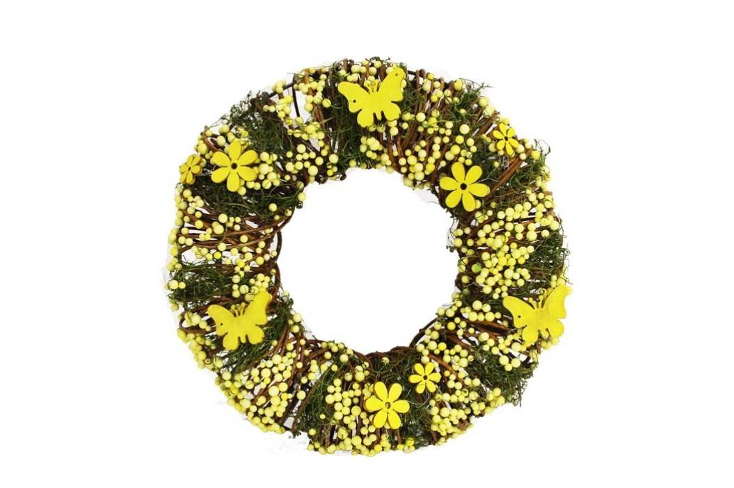 Věnec se žlutými dekoracemi