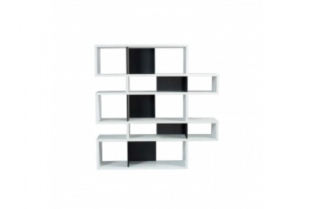 16 Regál LOMER 5 (Bílá (mat), černá (mat) záda)