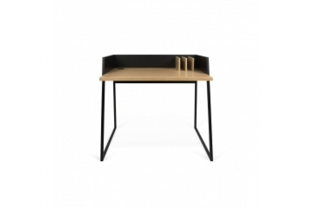 TH Designový kancelářský stolek VOLIO (Černá (mat) a dub (dýha))