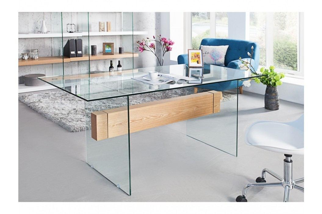 INV Psací stůl NOTE 160cm bílá/sklo/dub