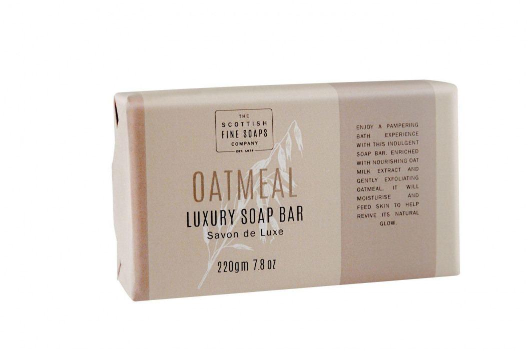 SCOTTISH FINE SOAPS Luxusní peelingové mýdlo Oatmeal 220 gr, béžová barva