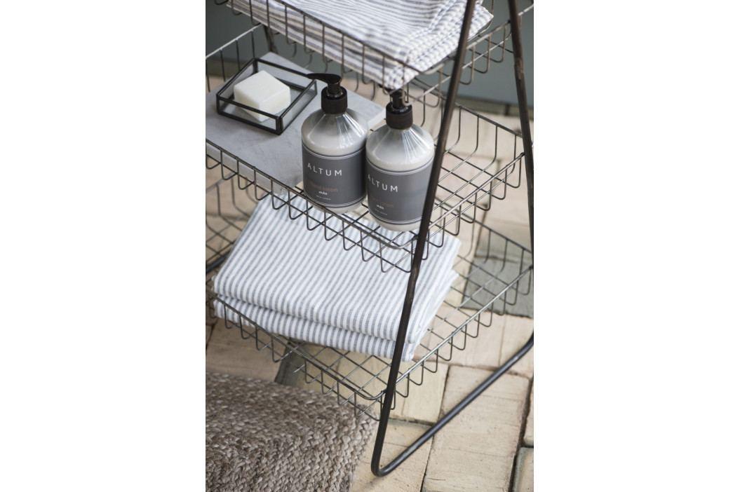 IB LAURSEN Bavlněná osuška Hammam Anthracite 100x50 cm, šedá barva, bílá barva, textil