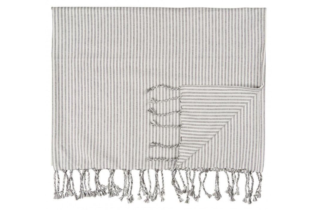 IB LAURSEN Bavlněná osuška Hammam Anthracite 106x160 cm, šedá barva, bílá barva, textil